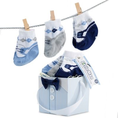 Baby Aspen Size 0-6M 3-Pair Little Man Sock Gift Set
