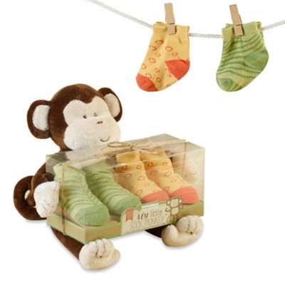 Baby Aspen My Little Sock Monkey Plush and Sock Set