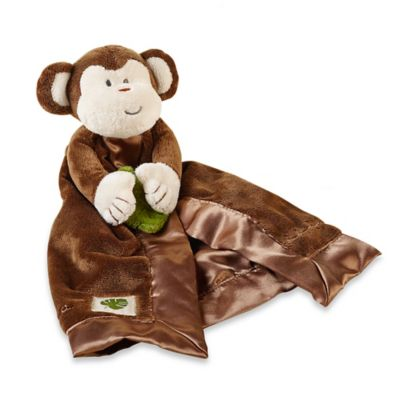 Baby Aspen Minki the Monkey Plush Rattle Lovie Blanket in Brown