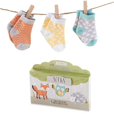 Baby Aspen Size 0-6M 3-Pair My Forest Friends Sock Gift Set