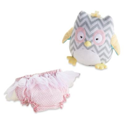 Baby Aspen Haddie-Hoo Knit Owl Plush and Bloomer in Pink/Grey