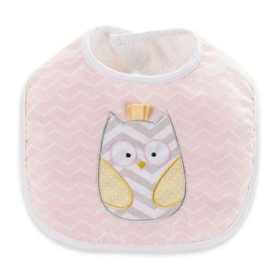 Baby Aspen Chevron Owl Bib in Pink