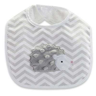 Baby Aspen Hedgehugs Bib in Grey/White