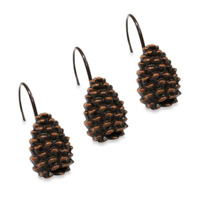 Pinecone Shower Curtain Hooks (Set of 12)