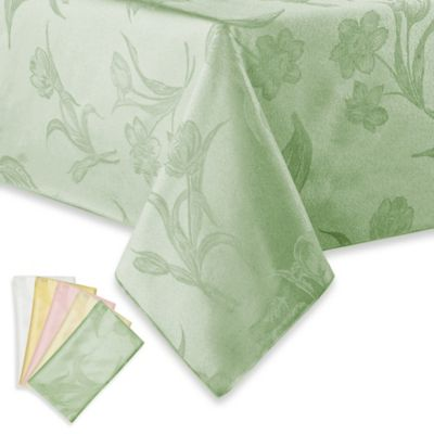 Spring Blossoms Damask 52-Inch x 70-Inch Oblong Tablecloth in Platinum