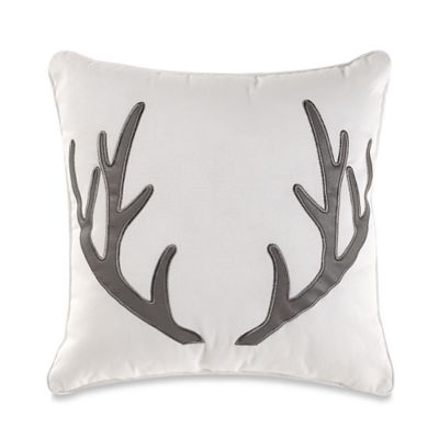 Brooklyn Loom St. Albans Yarn Dye Antler Square Throw Pillow in Grey