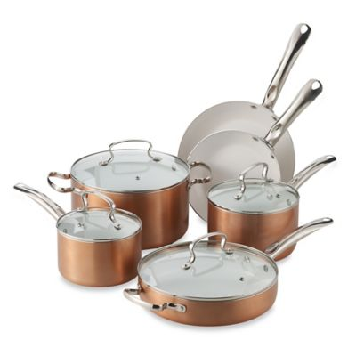 Denmark® 10-Piece Ceramic Nonstick Aluminum Cookware Set in Ruby