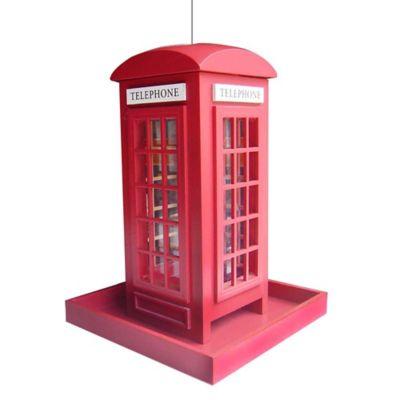 Home Bazaar Telephone Booth Birdfeeder in Red