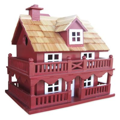 Home Bazaar Novelty Cottage Birdhouse in Red