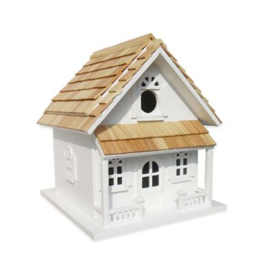Home Bazaar Victorian Cottage Birdhouse/Planter in White