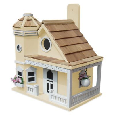Home Bazaar Flower Pot Cottage Birdhouse in White