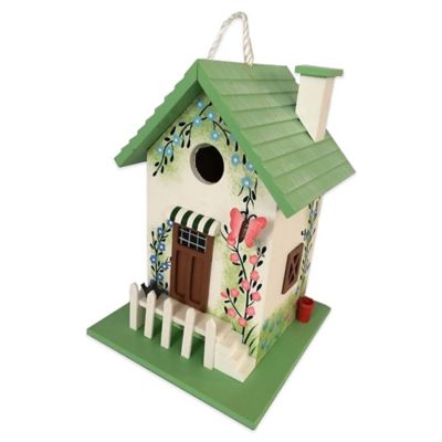 Home Bazaar Butterfly Cottage Birdhouse in Green
