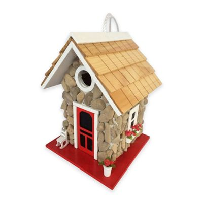Home Bazaar Fieldstone Guest Cottage Birdhouse in Stone