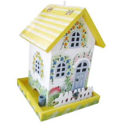Home Bazaar Flower Cottage Birdfeeder in Yellow