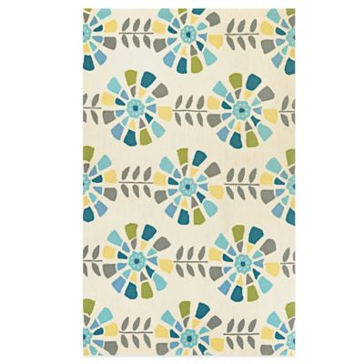 Couristan® Beachfront Collection Flower Blossoms 2-Foot x 4-Foot Rug