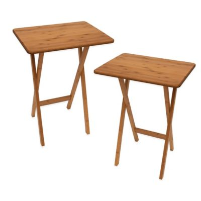 Lipper Bamboo Folding Snack Tables (Set of 2)