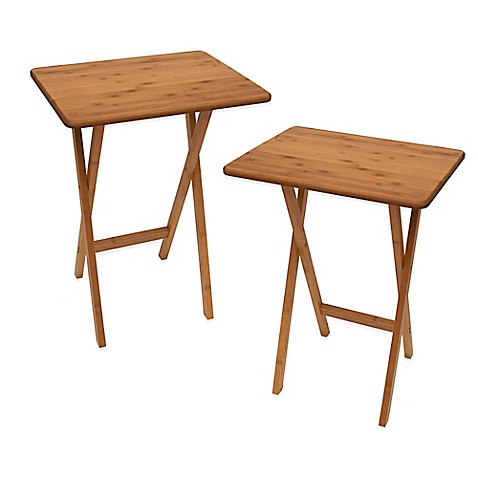 Lipper Bamboo Folding Snack Tables Set Of 2 Www
