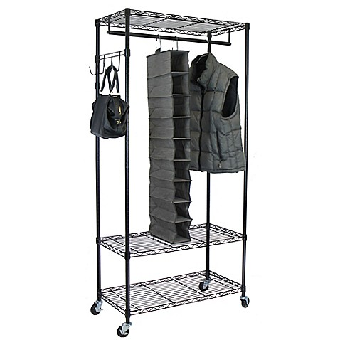 buy oceanstar garment rack with adjustable shelves and hooks in black from bed bath beyond. Black Bedroom Furniture Sets. Home Design Ideas
