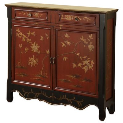 Powell Oriental 2-Door Console in Red