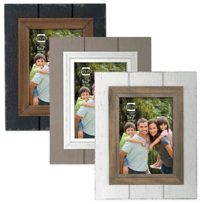 Prinz Parker 5-Inch x 7-Inch Wood Picture Frame in White/Brown