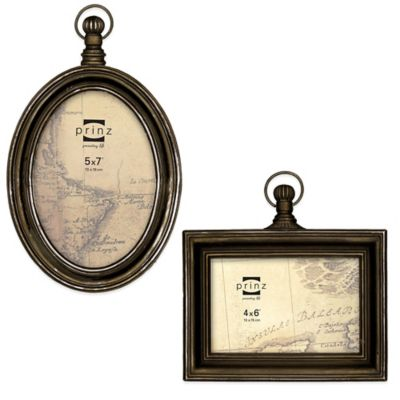 Prinz Mackenzie 4-Inch x 6-Inch Sculpted Resin Picture Frame in Antique Brass