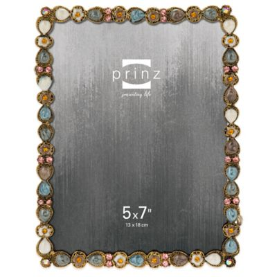 Prinz Armitage 5-Inch x 7-Inch Jeweled Picture Frame in Gold