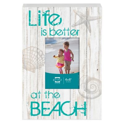 "Prinz Sea Breeze 4-Inch x 6-Inch ""Life is Better at the Beach"" Photo Plaque in White"
