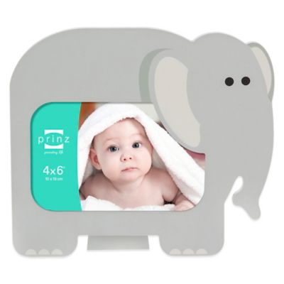 Prinz Little Safari 4-Inch x 6-Inch Elephant Picture Frame in Grey