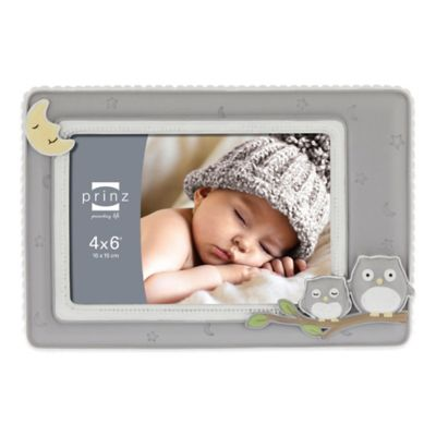 Prinz Sweet Dreams 4-Inch x 6-Inch Owl Picture Frame in Grey