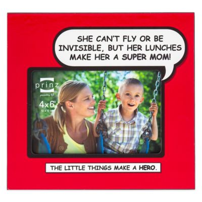 "Prinz Enough Said 4-Inch x 6-Inch ""Super Mom"" Picture Frame in Red"