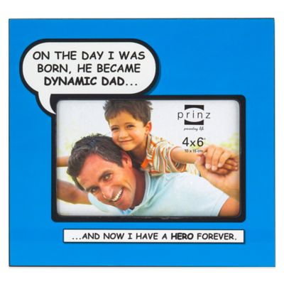 "Prinz Enough Said 4-Inch x 6-Inch ""Dynamic Dad"" Picture Frame in Blue"