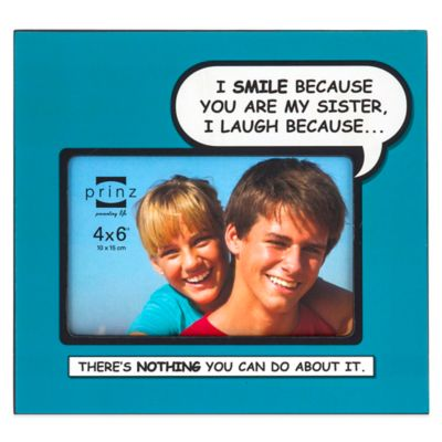 Prinz Enough Said 4-Inch x 6-Inch Sister Picture Frame in Teal