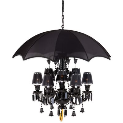 Zuo® Sugilite 9-Light Ceiling-Mount Chandelier in Black with Fabric Shade