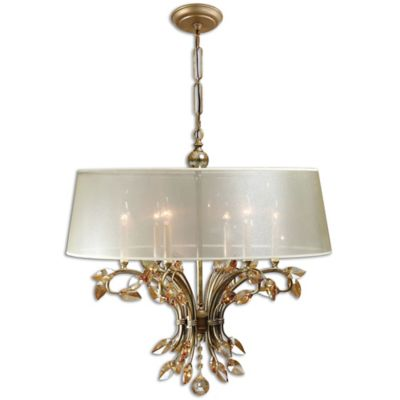 Uttermost Alenya 6-Light Chandelier in Gold with Fabric Shade