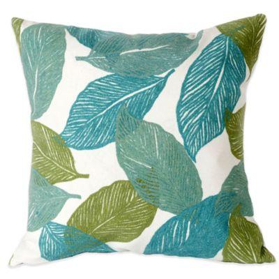 Liora Manne Mystic Leaf 20-Inch x 20-Inch Outdoor Throw Pillow in Aqua