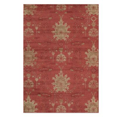 Rugs America Rallye Floral Ikat 2-Foot x 2-Foot 11-Inch Accent Rug in Amber Red