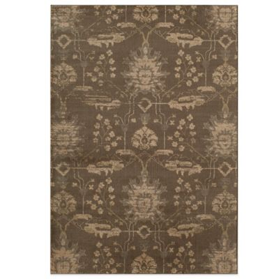 Rugs America Rallye Floral Ikat 5-Foot 3-Inch Round Accent Rug in Chestnut Brown