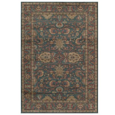 Rugs America Ziegler 5-Foot 3-Inch x 7-Foot 10-Inch Floral Border Area Rug in Navy