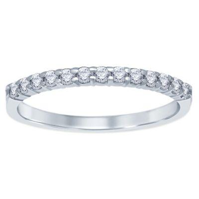 14K White Gold .25 cttw Prong-Set Diamond Size 8.5 Ladies' Wedding Band