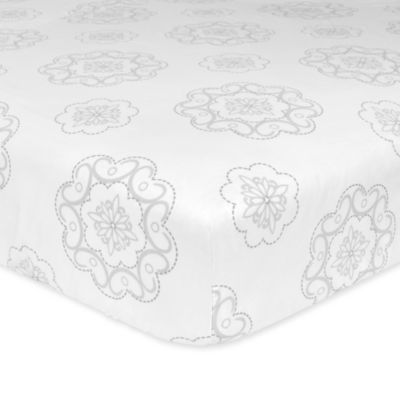 Just Born® Ruffled Medallions Fitted Crib Sheet