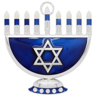 Silver Plated/Hand Enameled Menorah Ornament with 5 Swarovski® Crystals in Blue