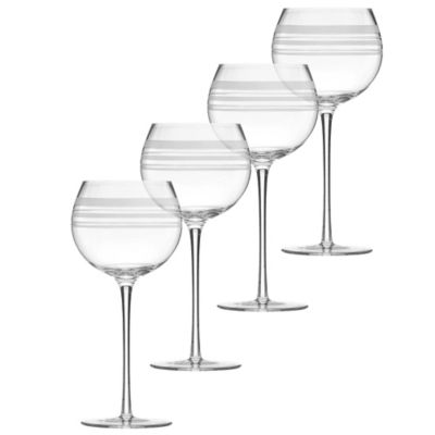 kate spade new york Library Stripe Balloon Wine Glasses (Set of 4)