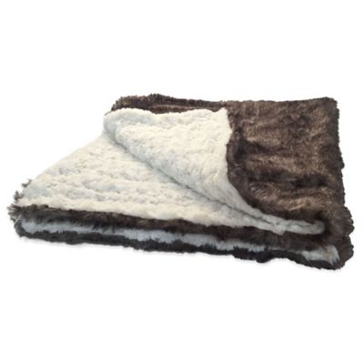 Bombay™ Posh Faux Fur Pet Blanket in Brown