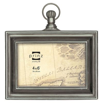 Prinz Mackenzie 4-Inch x 6-Inch Sculpted Resin Picture Frame in Antique Silver