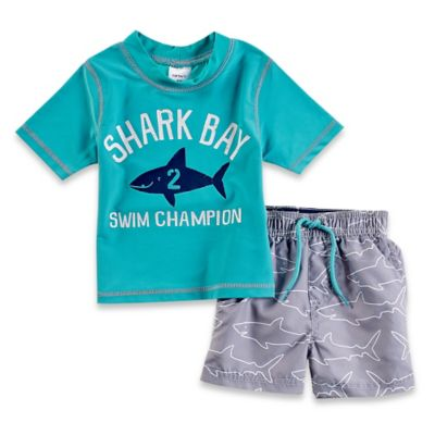 "Carter's® Size 4T 2-Piece ""Shark Bay Swim Champion"" Rashguard Set in Aqua"