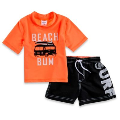 "Carter's® Size 2T 2-Piece ""Beach Bum"" Rashguard Set in Orange/Black"