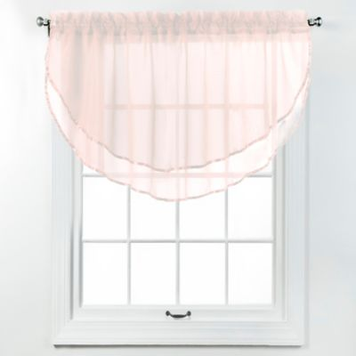 Elegance Voile Layered Ascot Valance in Pink