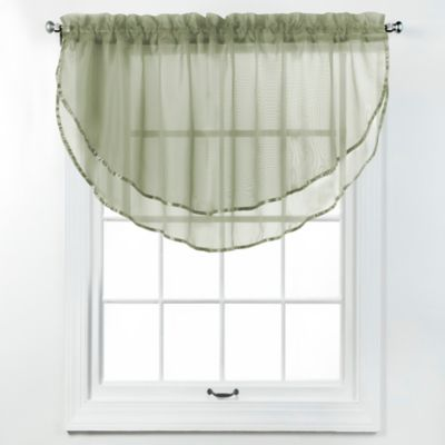 Elegance Voile Layered Ascot Valance in Gold