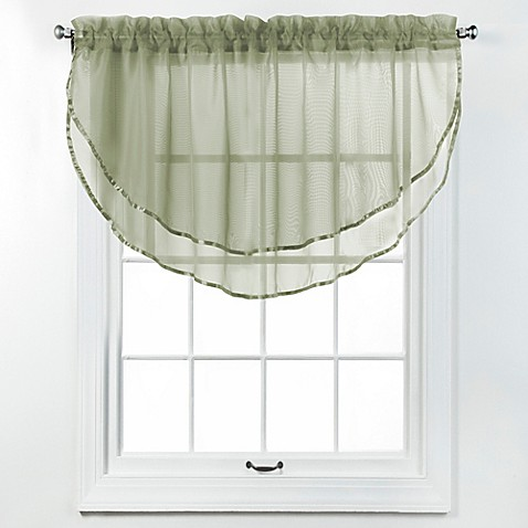 elegance voile layered ascot valance bed bath beyond. Black Bedroom Furniture Sets. Home Design Ideas