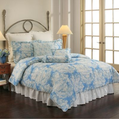 Sherry Kline Florenza Reversible Floral Queen Comforter Set in Pacific Blue